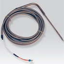Platinum RTD (PT100) probe to prick bent with connecting cable PFA/PFA protected by a flexible device stainless steel